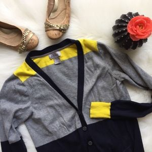 🌻 JcPenny Cashmere Cardigan Grey Color Block